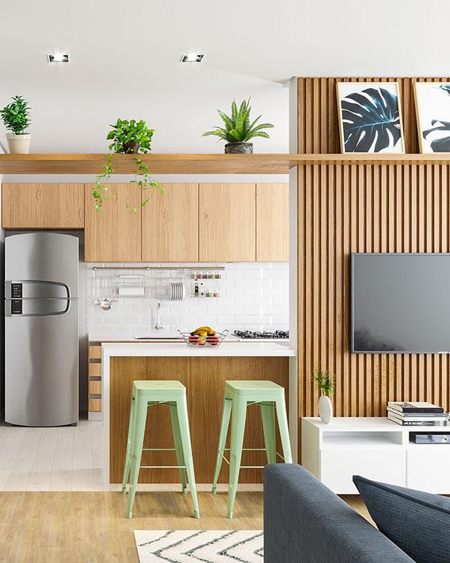 Ambiente integrado sala e cozinha