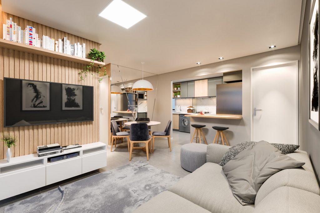 Maquete 3d living integrado